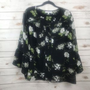 Fever Plus Black Floral Bell Sleeve Top 3X